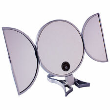 Danielle Circular 5X Magnifying Hand Held or Free Standing Travel Mirror Silver
