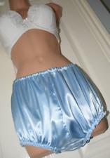 "FIeb - DOUBLE satin panties / bloomers, BN, waist to 40"", Baby blue"