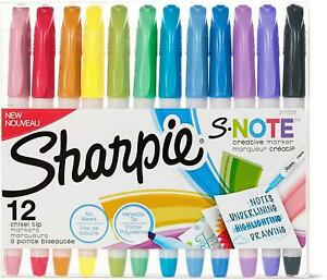 Sharpie S-Note Creative Markers, Assorted Colors, Chisel Tip, Pack of 12