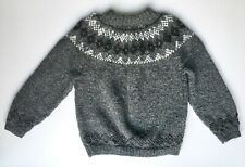 Icelandic Scandi hand knit jumper grey 100% Lopi wool vintage Ladies M BRAND NEW