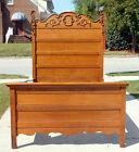 Oak Bed~~High Back~~Nicely Carved~~Circa 1900
