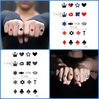 Crown Heart Star Cross Card Suite Waterproof Temporary Tattoo Hand Arm Women Men