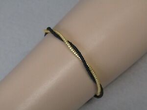 Gold & Black Twisted Slim Stacker Surfer Friendship Bracelet or Anklet Handmade!