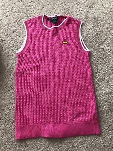 EUC Bobby Jones Masters Augusta National Womens Pink Cable Knit Vest, Size SMALL