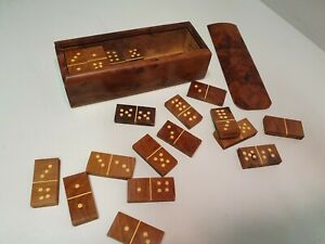 Antique/Vintage? Hand Made Walnut Domino's set in Walnut box traditional game
