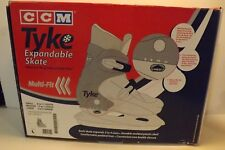 New Ccm Tyke Expandable Ice Skates Jr 2-4 Multi-size Gray Adjustable Large Box