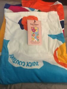 JUICY COUTURE BEACH BATH TOWEL MULTI COLORED FLOWERS TURKISH COTTON 34x64 NEW