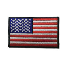 """Embroidered 4"""" American US Flag Black Border Sew or Iron on Patch Biker Patch"""