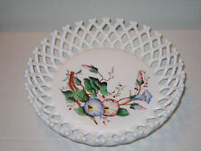Vintage Challinor Taylor Milk Glass Lattice Bowl Hand Painted Morning Glories