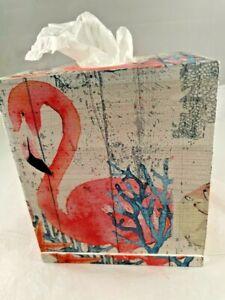 HANDMADE WOOD DECOUPAGE TISSUE BOX COVER SQUARE PINK FLAMINGO SEA  OCEAN