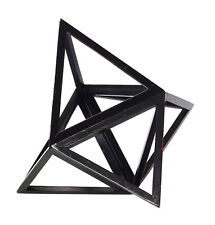 "Tetrahedron Black Elevated 3D Geometric Fire Figurine Model 9"" Polyhedron Accent"