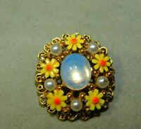 Vintage Moonstone Glass Enamel flower pearl bead gold tone Brooch Pin 3b 68