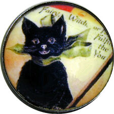"1 "" Halloween Crystal Dome Button Cute Vintage Black Cat HW 15 FREE US SHIPPING"