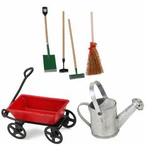 Puppenhaus Miniatur Metall Pulling Cart Und Gießkanne Set Garden Decor