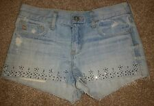 Abercrombie Kids Light Denim Distressed Short Shorts w/ Jewels Girl's Size 14