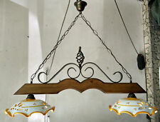 BILANCIERE lampadario RUSTICO ferro battuto CERAMICA e LEGNO country taverna