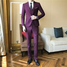 Mens Wedding Groom Suit 3 Piece Slim fit One Button Business Prom British Casual