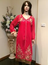 "40"" M-L Kurti Jeans Top Boho Kaftan Bollywood Indian Kurthy Tunic Red K18"