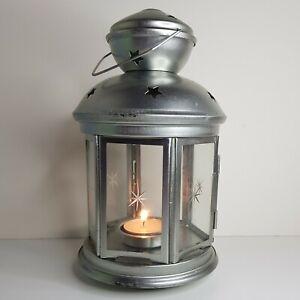 Silver Star Metal & Glass Decorative Tea Light Holder Lantern
