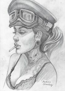 original drawing A5 26SP Modern Art samovar Graphite female portrait Signed