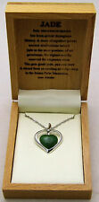 Beautiful Jade Cutout Heart Necklace Dainty Adorable Love 925 Sterling Silver