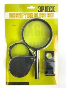 3tlg Lupen Set 5xVergrößerung Hand Lese Taschen Lupe Klappbar Faltbar Lesehilfe