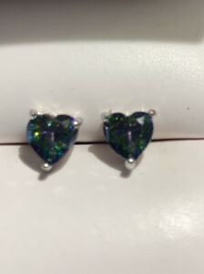 Heart Cut  1ct.Alexandrite  Stud Earrings in 14kt Over