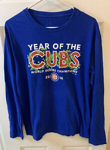 Chicago Cubs MLB 2016 World Series Champs Tee T Shirt Blue Men M Long Sleeve