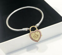 Genuine Pandora Bracelet with Lock Your Promise Clasp 18K Gold Plated 596586FPC