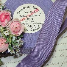 """1y Vtg 1"""" French Violette Lilac Purple Moire Ribbon Trim Flapper Hat Cocarde"""