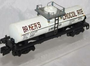 American Flyer 24330 (A) Bakers Chocolate 1 Dome tank car Gray platform S scale