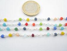 20 cm di catena concatenata in ottone tono argento cristalli mix color 3,5x3 mm