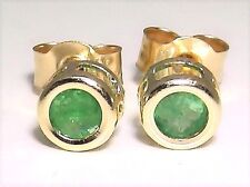 Beautiful 9ct Yellow Gold Emerald Solitaire Stud Earrings