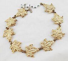 """Vintage Enameled Gold Tone Maple Leaf 16"""" Necklace (Adjustable Smaller) V5"""