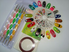 Nail Art Design Kit fruit slices gem pearls tape dotting tool sticker bow +BONUS