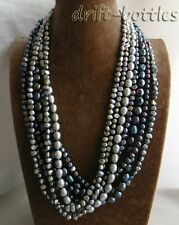Rice Round Freshwater Pearl Necklace  7Strands 26'' 11mm Black Gray Baroque
