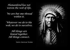 NATIVE AMERICAN INDIAN WISDOM QUOTE MOTIVATIONAL POSTER / PRINT / PICTURE