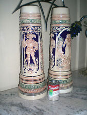 "2 GERZ LOVERS 5 L STEINS / Huge VASES / UMBRELLA STANDS 21"" /Cobalt Pair"