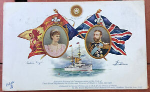 vintage Postcard HMS renown Ship star of india king george queen mary of england