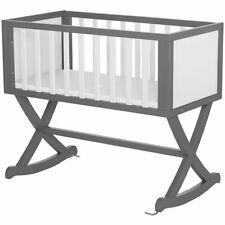 Dream On Me Luna Baby Cradle in Gray and White
