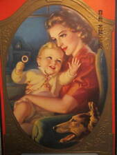 1943 Calendar A. Hendricks, Inc. Wallpaper Paints Mother Child German Shepherd