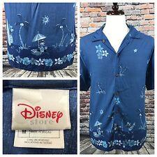 Disney Store Blue Hawaiian Shirt Rayon Mickey Minnie Donald Surf Beach Men's M
