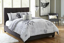 Black White Gray Postage 5 piece Comforter Bedding Set Full Queen Size