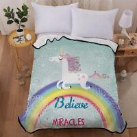 Cartoon Unicorn Velvet Plush Throw Blanket Sherpa Bedding Thin Quilt 60×80in