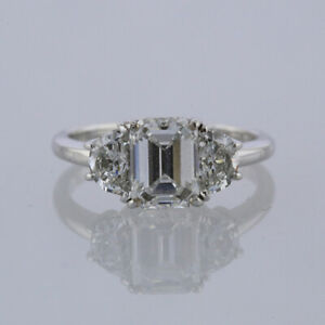 Diamond Engagement Ring - 1.31 Carat Emerald Cut 18ct White gold Size J