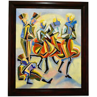 Cubist oil painting of dancers and musicians Serge Magnin France