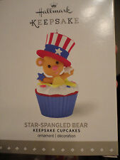 Hallmark 2016 Star Spangled Bear JULY Cupcake Monthly Series Ornament NEW 12th