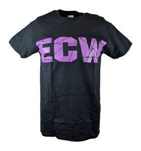 ECW Barbed Wire Purple Logo Mens Black T-shirt