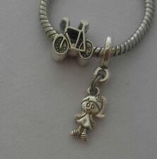 Bike Bicycle Sports Girl Daughter Friend Dangle Bead for European Charm Bracelet