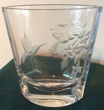 Etched Glass Hummingbird Vase  Lead Crystal Bohemian / Czech Art Glass